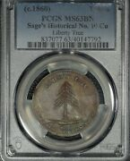 1858 Sage's Historical Tokens, 10, Pcgs Ms 63 Bn, Liberty Tree, Orig.