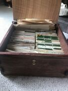 White Oak Wooden Recipe Box With 100's And 100's Of Vintage Recipes