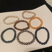 Lot Of 7 Individual Women's Stretchy Costume Beaded Bracelets - Faux Pearl Set