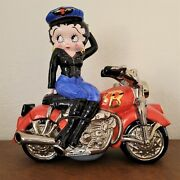 Large Betty Boop Collectible Biker Clay Art Ceramic Cookie Jar Motorcycle New