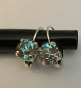 Antique Vintage Faceted 8 1/2mm Saphiret Earrings In Silver Tone