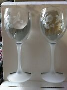 """Avon Frosted Hummingbird Etched Lead Crystal Goblets Set Of 2 Brand New 8.25"""""""