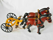 Vintage Cast Iron 2 Horse Team With 2 Wheel Wagon Hitch, 9 In. L, U.s.a.