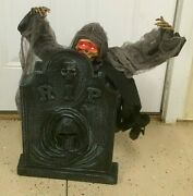Halloween Animated Skeleton And Tombstone Prop Horror Ghoul Grim Reaper 22 Tall