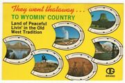 Wyoming Country Land Of Peaceful Living Old West 1969 Wy Vintage Postcard Chrome