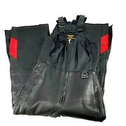 Yamaha Leather Hein Gericke Womens Size Small Black Quilted Snowmobile Bibs