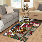 Christmas Fire Holiday Tails Jack Russell Dog Living Room Area Rug