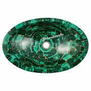 16 Marble Malachite Sink With Golden Joints Bathroom And Kitchen Home Decor
