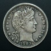 1903-p Barber Quarter ✪ Xf Extra Fine ✪ 25c Silver Choice L@@k Now ◢trusted◣