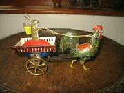 Rare 1890and039s Lehmann Rooster And Rabbit Germany Tinplate Antique Flywheel Tin Toy