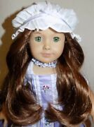 Retired American Girl Doll Felicity In Purple Travel Gown Meet Outfit Cap Choker
