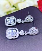 Dangling 1.95tcw F/vs Diamond Natural 18k Solid White Gold Chandelier Illusion