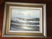 Original Oil On Canvas Of Coastal Waves Crashingseagulls In Air By Roal English