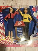 Collectible 2016 Barbie President And Vice President Dolls 2 Pk Blonde/blk Hair