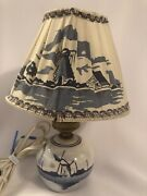 Little Vintage Blue And White Delft Lamp Fabric Shade