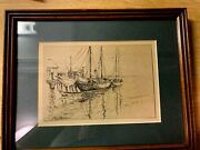 Vintage Original Signed Pen And Ink Drawing Of Fishing Boats At Docking 10 X 8