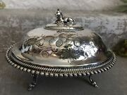 Antique 1800and039s Meriden Britia Company Silver Plate Goat Finial Butter Dish 4000