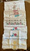 Vintage Lot 10 Pillowcases 5 Pairs Embroidered Floral Crochet Lace Trim