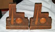 Rare Set Of Syroco Wood 1939 New York Worlds Fair Bookends