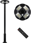 100w Led Solar Lamp Post Light Outdoor With 98 Inch Pole New