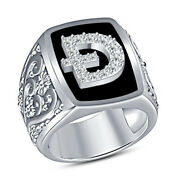 Mens Dogecoin Doge Coin Symbol Crypto Currency Band Ring In 14k White Gold Over