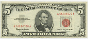1963 Five Dollar Bill Circulated Red Seal Note