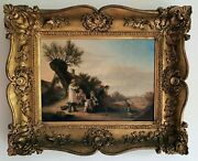 William Shayer British Country Harvest Scene Signed Large Antique Oil Painting