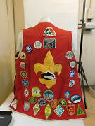 Boy Scout Leader Red Patch Vest With 1960's 70's Jacket Patches