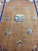 Antique Handmade Chinese Art Deco Wool Rug Carpet Shabby Chicsize8.6 By 6.1 Ft