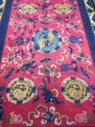 Antique Handmade Chinese Art Deco Wool Rug Carpet Shabby Chicsize9.8 By 6.5 Ft