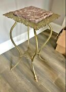 Antique Vintage 2-tier Gold Gilt Iron Brass And Marble Plant Stand Table