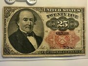Fractional Currency Fr-1308 25c Firm Light Toned On Sale 6c