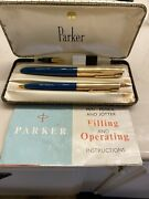 Vintage Parker 51 Fountain Pen And Mechanical Pencil Set. 12k Rolled Gold.