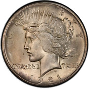 1921 1 Peace Dollar - Type 1 High Relief Pcgs Ms64+ Cac 3295-19