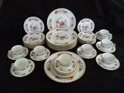 Limoges China Service For 8 Place Settings 5pc Raynaud Vieux Chine Orange Poppy