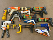 Nerf Gun Lot Of 17 Accessories Attachments Stocks And Bipods Dart Tag