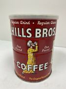 1939 Antique Hills Bros Coffee 1lb Tin Can. Amazing Condition Sealed With Coffee