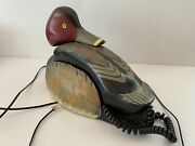 1980s Wooden Ducks Unlimited Hand Painted Decoy Telephone 12x8x7 Inches