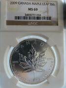 Canada 2009 Maple Leaf S5 Ngc Ms69 Silver Dollar White Milk Spots