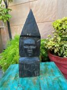 1800and039s Ancient Black Wood Handcrafted Tribal Man Face Figurine Sculpture