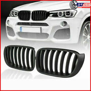Matte Black 7 Single Fin Slat Front Grill Grille For Bmw X3 F25 X4 F26 14-18