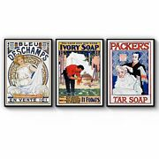 Set Of Vintage Soap Adverts Laundry Room Wall Art
