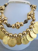 Heavily Yellow Gold Plated India Coin Necklace 2 Strand Quarter Anna Coins 17.7