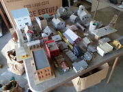 Ho,n Scale Model Railroad, Assembled, Painted Buildings And Accessories Lot Of 25