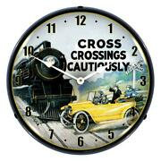 Cross Crossings Cautiously Railroad Safety 2 14 Led Wall Clock