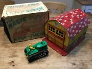 Marx Toys The Magic Barn And Tractor American Style Tin Barn Working Boxed 1960's