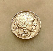 1938-d/s Buffalo Nickel - Popular D/s Variety - Pretty Au+ Coin - Free Shipping