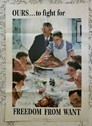 Original Wwii Poster Freedom From Want By Norman Rockwell 1943 20x28 Excellent
