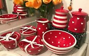 Terramoto Ceramic Mixing Bowls Set Canister Pitcher Valentines Hearts Polka Dots