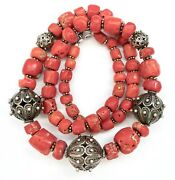 Qing Chinese Real Coral And Sterling Silver Filigree Beads Graduated Necklace 20l